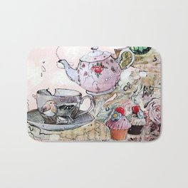 TEA TIME - madewithunicorndust by Natasha Dahdaleh Bath Mat
