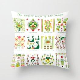 12 Days of Christmas Folk Art Style Throw Pillow