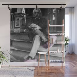 Albert Einstein in Fuzzy Pink Slippers Classic E = mc² Black and White Satirical Photography  Wall Mural
