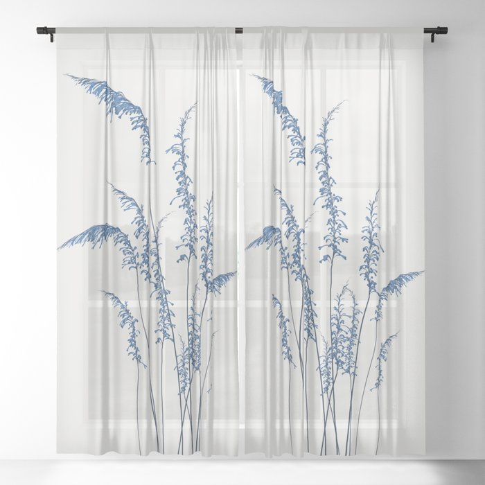 Blue flowers 2 Sheer Curtain