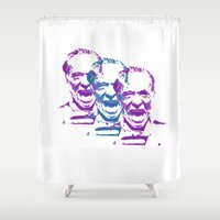 bukowski Shower Curtains featuring Charles Bukowski Stencil Triple  by All Surfaces Design