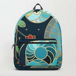 Beautiful Art Deco Midnight Bluebirds And Blossoms Backpack