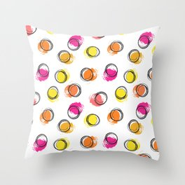 Colorful  brush blots and circle Throw Pillow