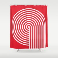 vertigo Shower Curtains featuring VERTIGO by Gradosei