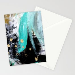 Fairy Dreams: an abstract mixed media piece in black, white, teal, and gold Stationery Cards