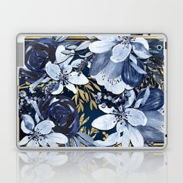 Navy Blue & Gold Watercolor Floral Laptop & iPad Skin