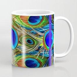 BLUE PEACOCK FEATHER ART NOVEAU DESIGN Coffee Mug