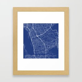 Chula Vista Map, USA - Blue Framed Art Print