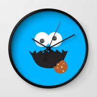 cookie monster Wall Clocks featuring Cookie Monster by whosyourdeddy