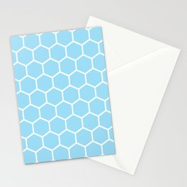 White and light blue honeycomb pattern Stationery Cards