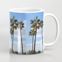 palm trees Mugs featuring Palm Trees by Rebecca Bear
