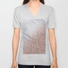 Blush Pink Sparkles on White and Gray Marble V Unisex V-Neck
