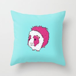 Pop Art Blue Abyssinian Guinea Pig Cartoon Throw Pillow