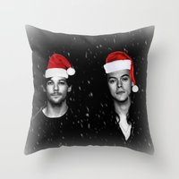 larry stylinson Throw Pillows featuring Larry Stylinson Christmas B&W by girllarriealmighty