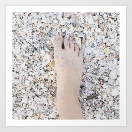 Foot on shell beach Art Print