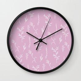 Modern spring pink lavender floral twigs hand drawn pattern Wall Clock
