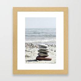 Balancing Stones On The Beach Framed Art Print