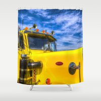 truck Shower Curtains featuring Peterbilt Truck by David Pyatt