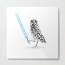 Jedi Owl Owl-bi-Wan Kenobi Metal Print