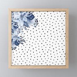 Boho Blue Flowers and Polka Dots Framed Mini Art Print
