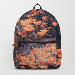 blooming yellow poppy flower field in California, USA Backpack