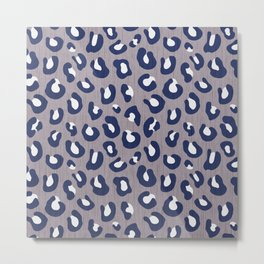LEOPARD PRINT - NAVY ON GRAY Metal Print