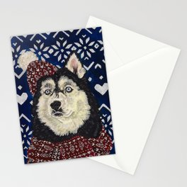Husky in a Hat and Scarf Stationery Cards