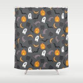Trendy orange white gray black halloween ghost pattern Shower Curtain