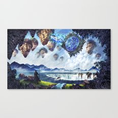 Spaceship enters Fantasy World through Star Gate Canvas Print