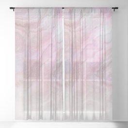 Frozen Iridescent Fantasy Marble - Pink Sheer Curtain