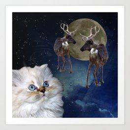 Cat and Reindeers Art Print