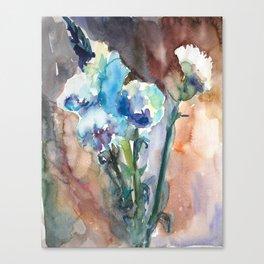 Watercolor blue flowers Canvas Print
