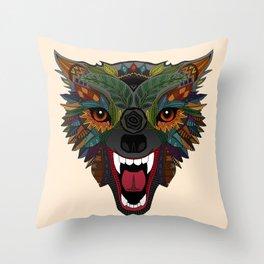 wolf fight flight ecru Throw Pillow