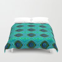 aqua Duvet Covers featuring Aqua by gretzky