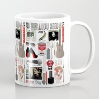 lou reed Mugs featuring A tribute to Lou Reed by Lili's Damn Fine Shop