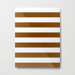 Horizontal Stripes - White and Chocolate Brown Metal Print