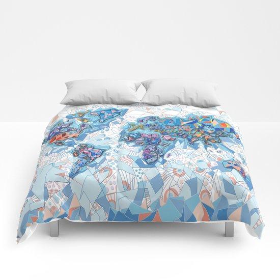 world map geometry white Comforters