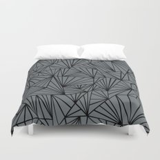 Ab Fan Grey and Black Duvet Cover