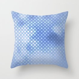 White polka dots on serentiy blue with bokeh texture Throw Pillow