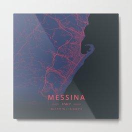 Messina, Italy - Neon Metal Print