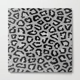 Hipster trendy gray black white leopard animal print Metal Print