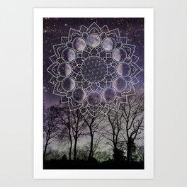 Purple Moon Phase Art Print