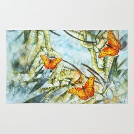 beautiful painted butterflies on wattle Rug