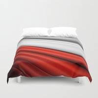 poland Duvet Covers featuring flag of Poland by Lulla