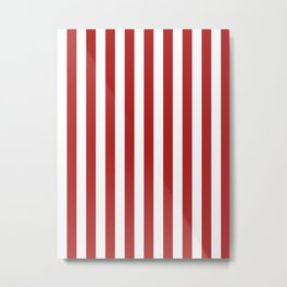 Narrow Vertical Stripes - White and Firebrick Red Metal Print