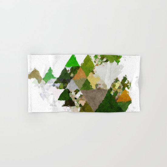 Spring Triangles - Fresh green and white triangle pattern Hand & Bath Towel