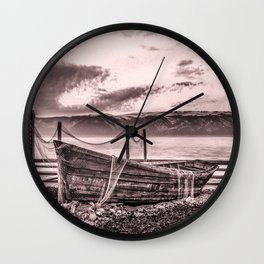 Old rusty boat with net (sepia) Wall Clock