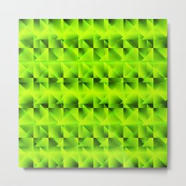 Diagonal raised square grid with green intersecting rectangular triangles and highlights. Metal Print