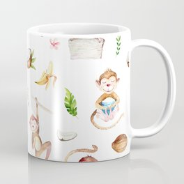 Tropical pink brown green watercolor monkey coconut floral Coffee Mug