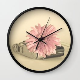 Pink flower over camera (Retro Still Life Photography)  Wall Clock